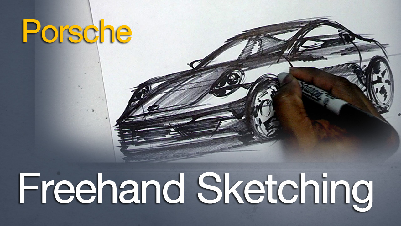 Freehand Sketching a Porsche 911 3 Quarter Front View